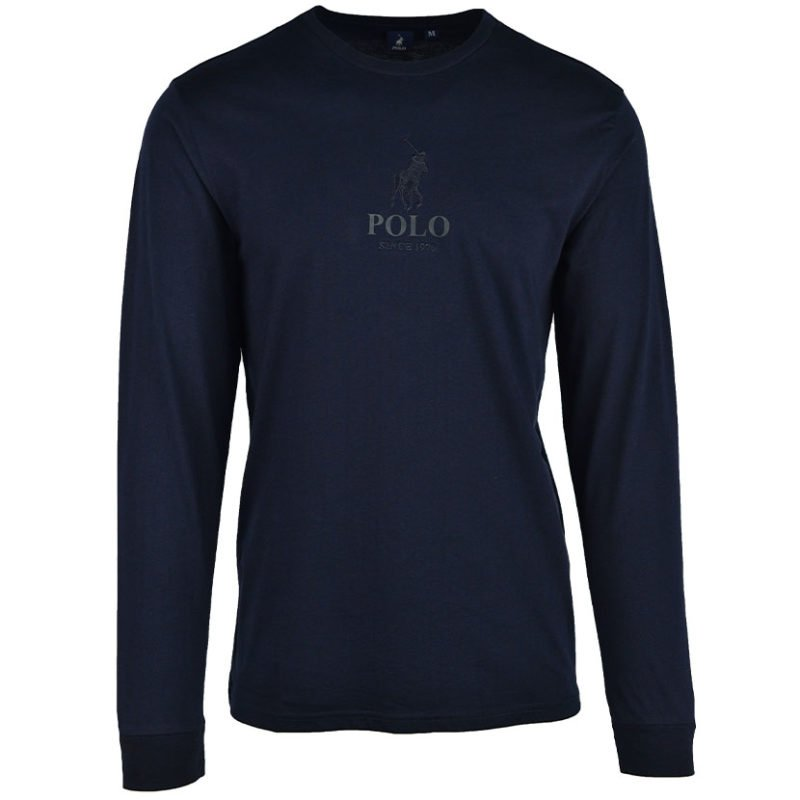 POL363N POLO MNS PEVIN EMBROIDERED LS LOGO TEE NAVY P6002015110200129 V1
