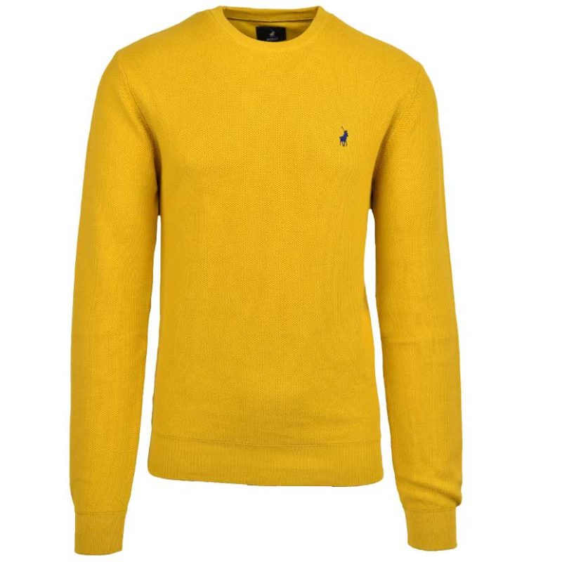 POL405MU POLO LEWIS TEXTURED PULLOVER MUSTARD P6002015111000465 V1