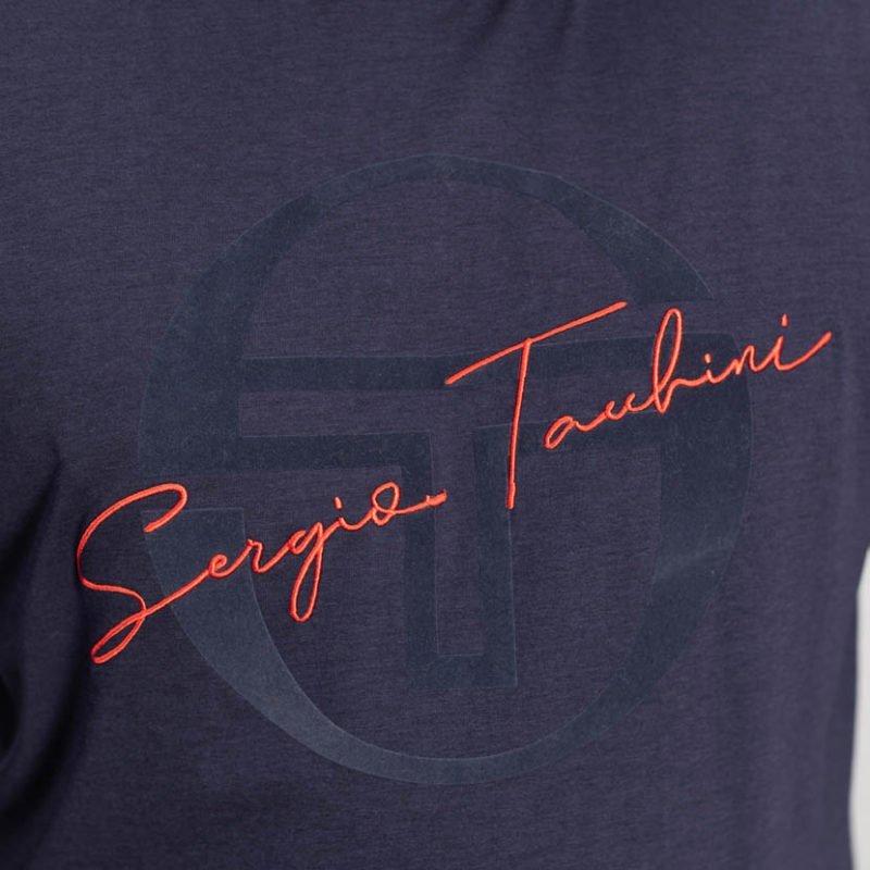 SER75N SERGIO TACCHINI FLOCK PRINT T SHIRT NAVY 2